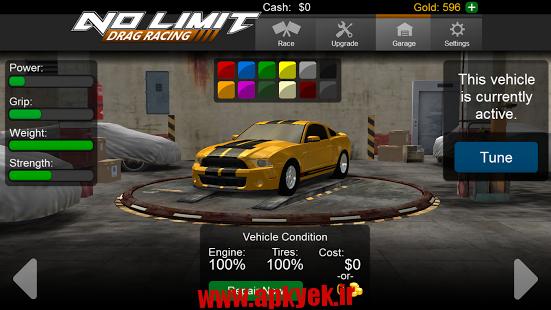 دانلود بازی ماشین بدون محدودیت No Limit Drag Racing 1.36 اندروید مود شده